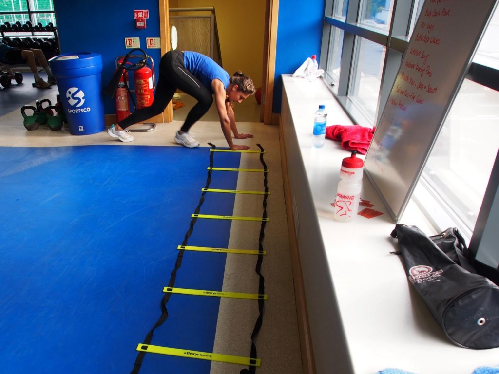 Ladder exercises kept us on our toes (and fingertips) in Functional Training.